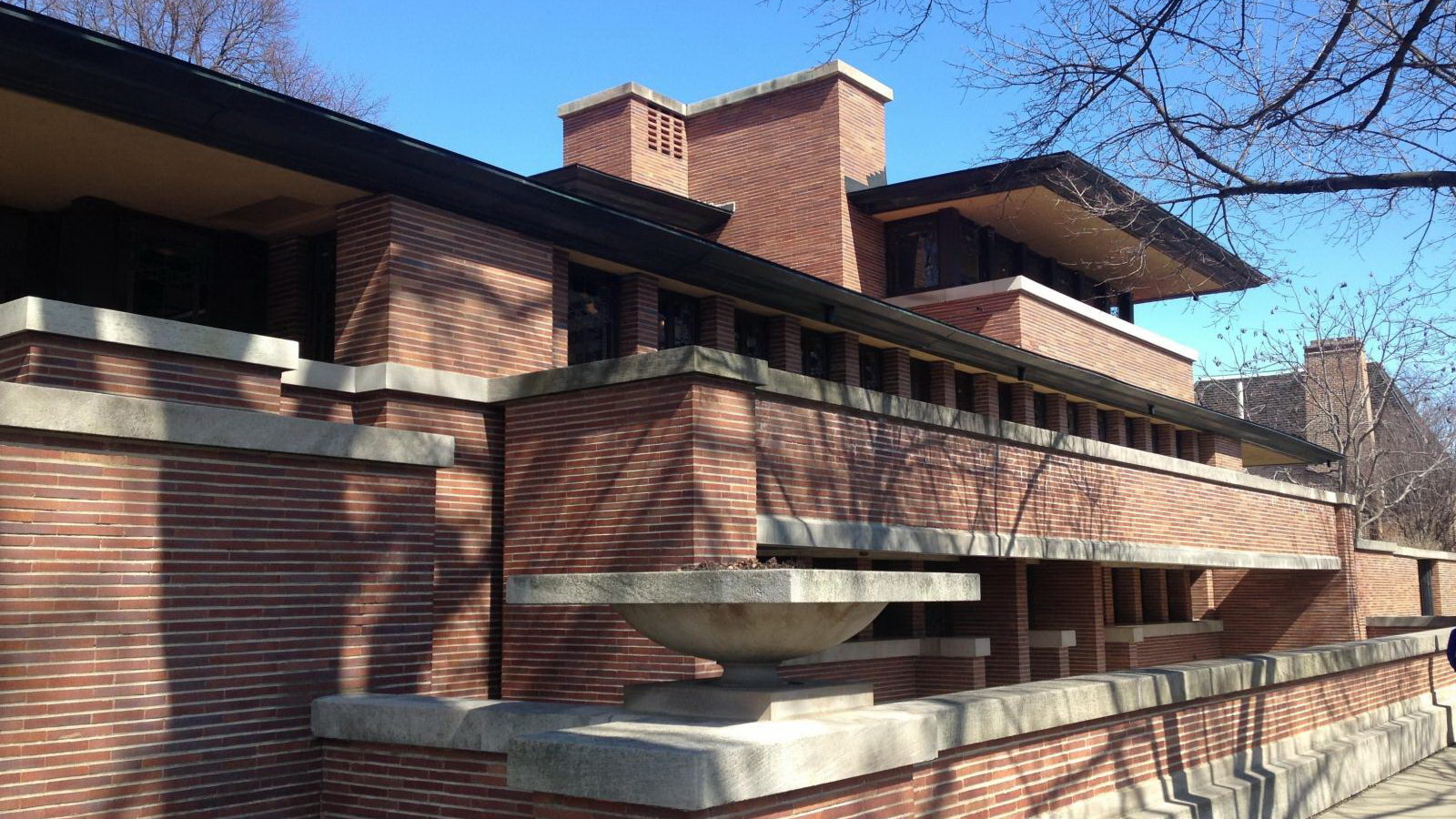 Architect Frank Lloyd Wright designs in the Midwest (Wisconsin, Illinois)